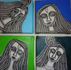 Nirmal Thakur Radha Krishna Mix Media on Canvas Set of 4 5x5 Inches