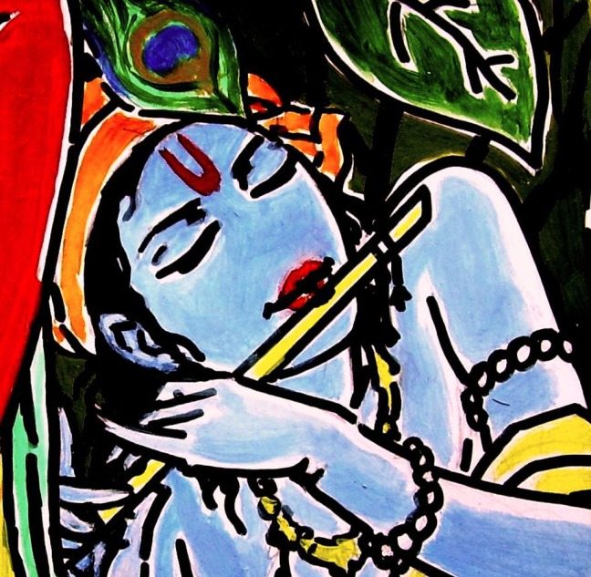 Shakti Singh Krishna 05 Acrylic on Canvas 30 x 30 Inches