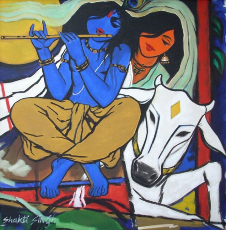 Shakti Singh Radha Krishna 1 Acrylic on Canvas