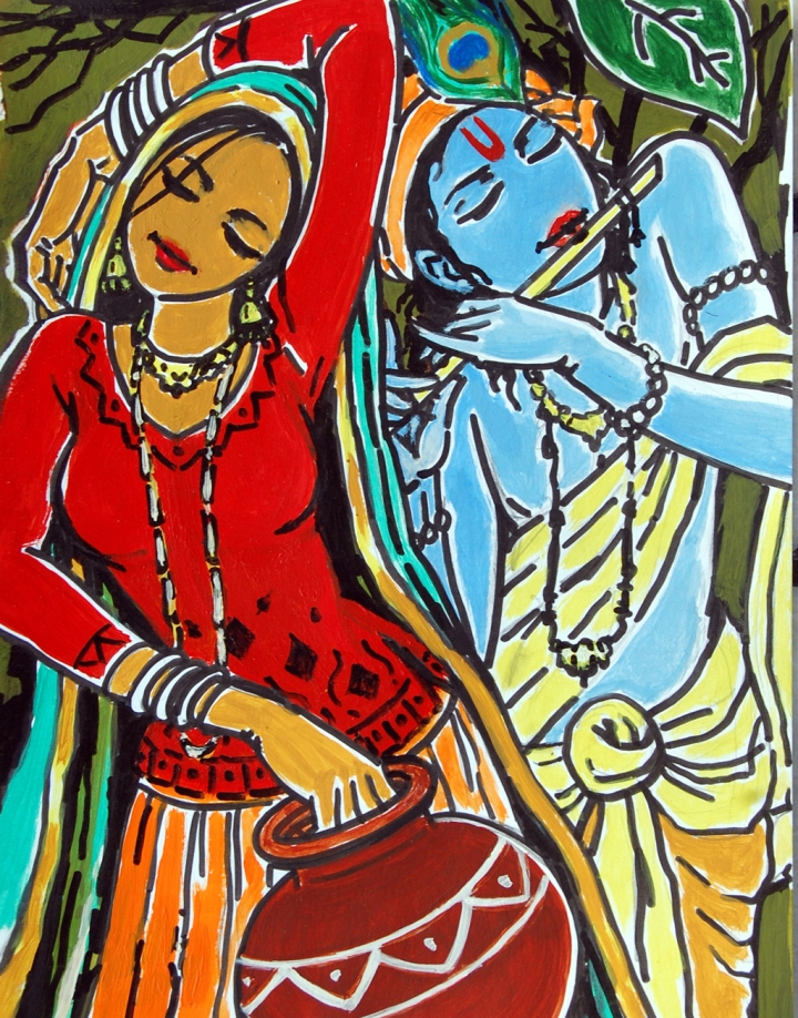 Shakti Singh Radha Krishna 2 Acrylic on Canvas