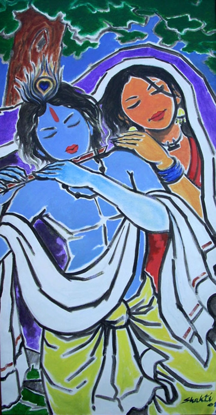 Shakti Singh Radha Krishna 3 Acrylic on Canvas