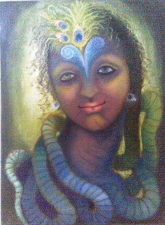 Simret Jandu Amalgam of the Three Emotions the Ultimate Force Krishna Oil on Canvas 18 x 24 Inches