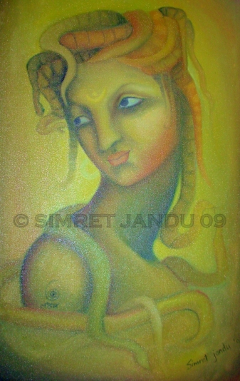 Simret Jandu Kundalini and the passion of Shiva Oil on Canvas 22x36 Inches