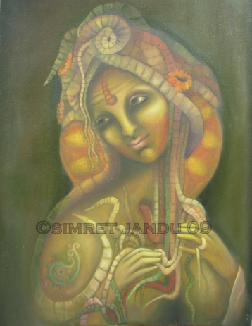 Simret Jandu Kundalini Oil on Canvas 36 x 48 Inches Oil on Canvas