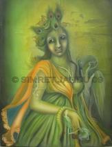 Simret Jandu Me and Krishna Oil on Canvas 36x48 Inches