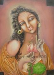 Simret Jandu Me Gautami and the Buddha Oil on Canvas 36x48 Inches