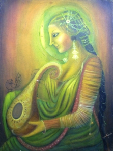 Simret Jandu Meera the Peacock and the Krishna Oil on Canvas 36x48 Inches