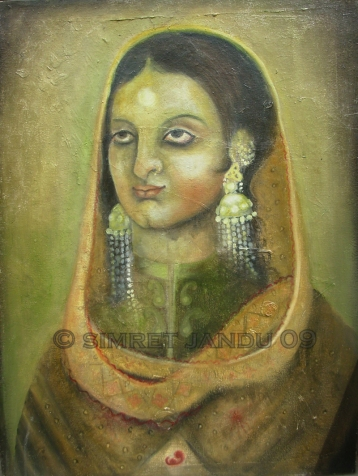 Simret Jandu Mother and Child Oil on Canvas 18x24 inches