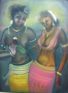 Simret Jandu Radha and the death in disguise of Krishna Oil on Canvas 36x48 Inches