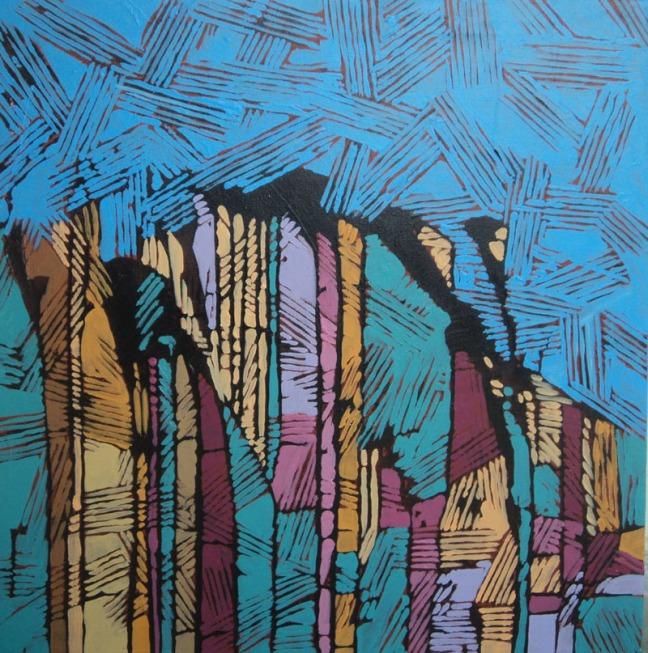 Anu Arora City-2 Acrylic on Canvas 24 x 24 Inches 2012