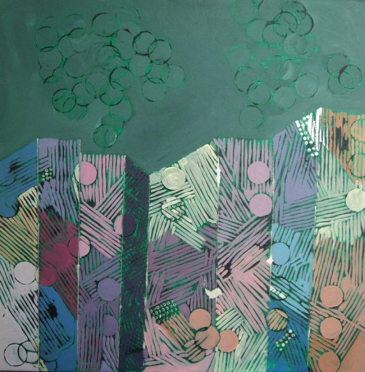 Anu Arora City-3 Acrylic on Canvas 24 x 24 Inches 2012