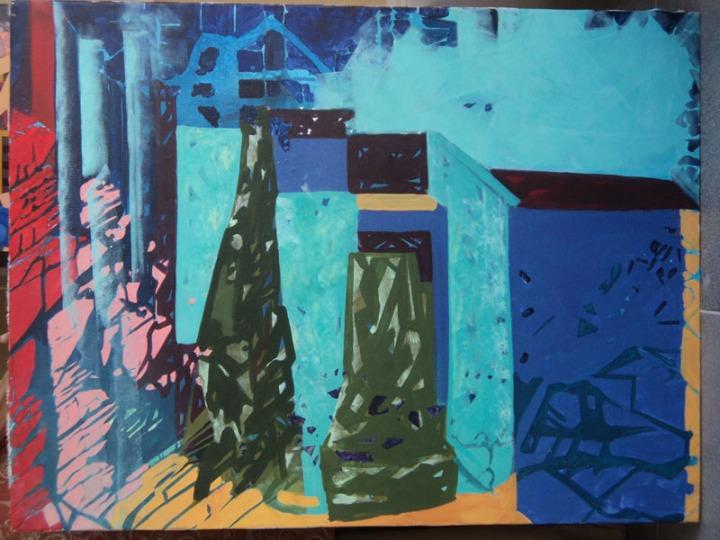 Anu Arora City-4 Acrylic on Canvas 30 x 40 Inches