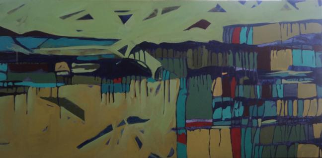 Anu Arora Cityscape 5 Acrylic on Canvas 21 x 47 Inches 2011
