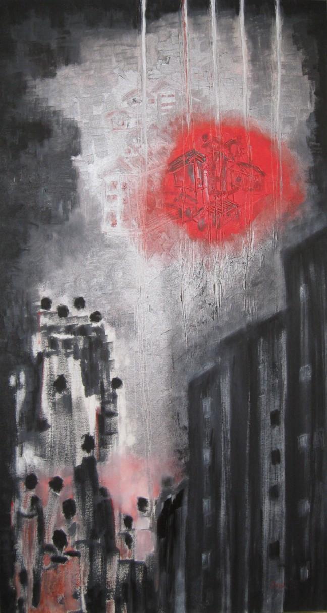 Anu Ganju Dynamic Oil on Canvas 22 x 38 Inches 2013