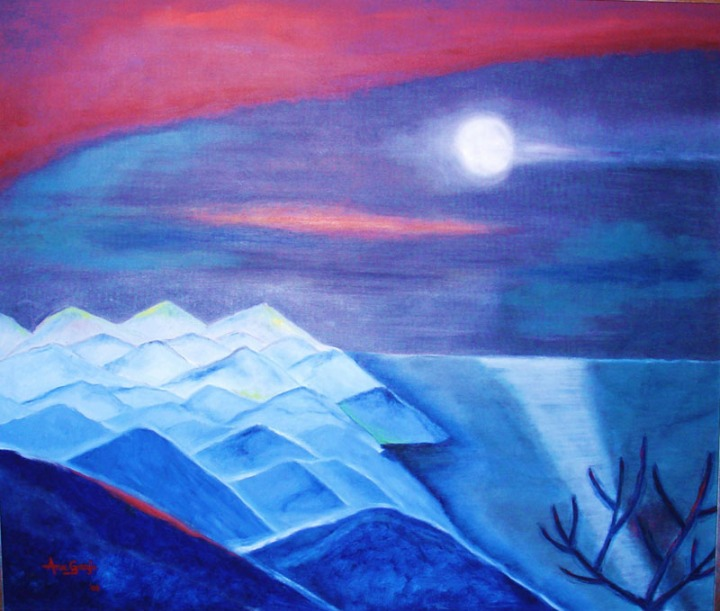 Anu Ganju Moonlight Oil on canvas 45 x 38 Inches