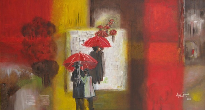 Anu Ganju My red parasol Oil on Canvas 38 x 22 Inches 2012