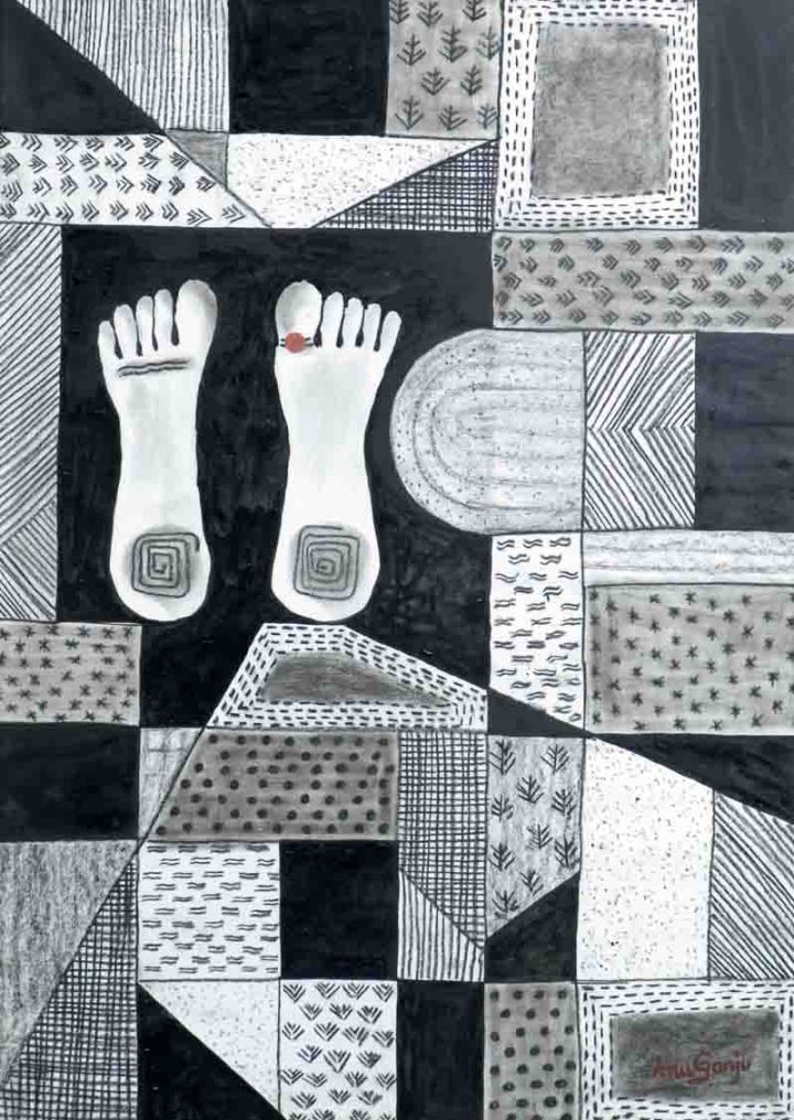 Anu Ganju Toe Ring Mixed media 22 x 30 Inches