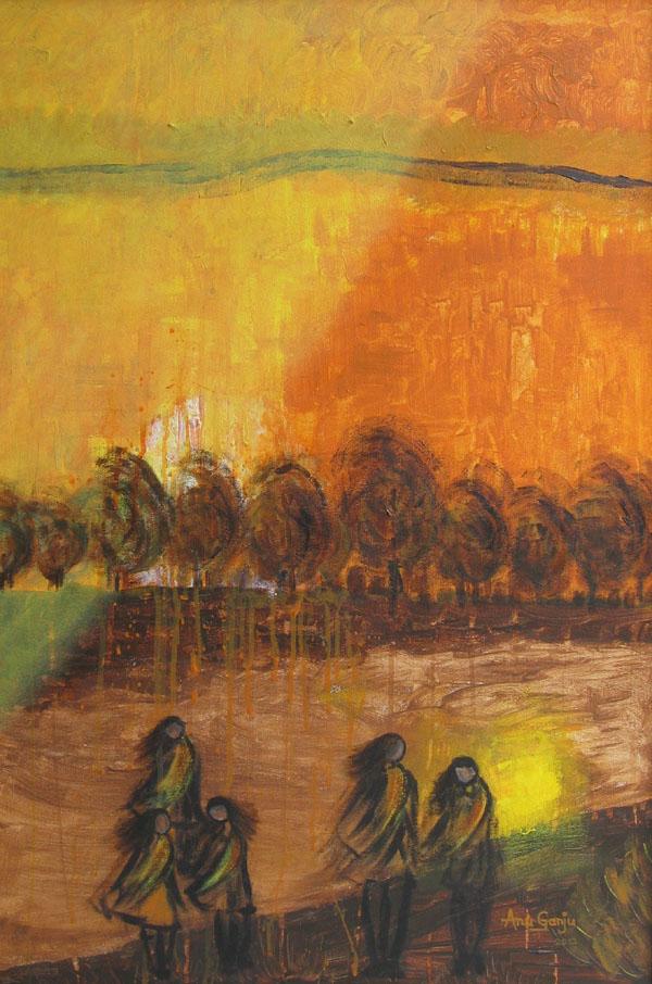 Anu Ganju Windswept Oil on Canvas 26 x 38 Inches 2012