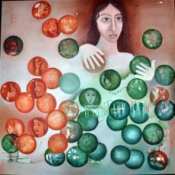 Beena Rohila LIFE Oil on Canvas 36 x 36 Inches
