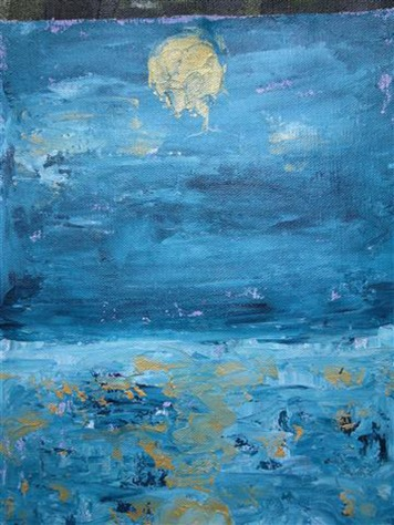 Beena Rohila Moon in Shadow Oil on Canvas 9 x 11 Inches