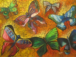 Deepa Sharma Butterflies in the Dreamland Oil on Canvas 96 x 70 Inches
