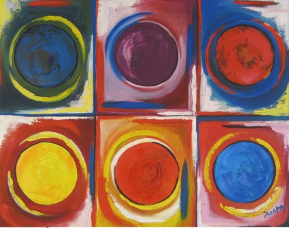 Deepa Sharma Dancing Colours Oil on Canvas 40 x 50 Inches