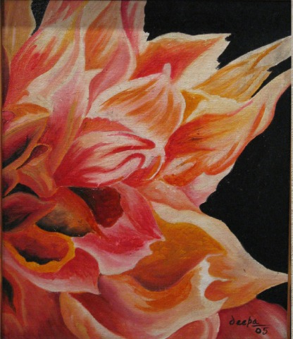 Deepa Sharma Dazzling Flower Oil on Canvas 30 x 36 Inches