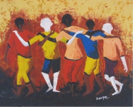 Deepa Sharma Five Best Friends Oil on Canvas 40 x 50 Inches