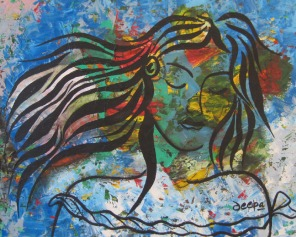 Deepa Sharma Girl in the Dream Land Oil on Canvas 40 x 50 Inches