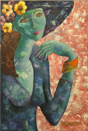 Deepa Sharma Lady in Blue Mood Oil on Canvas 50 x 75 Inches