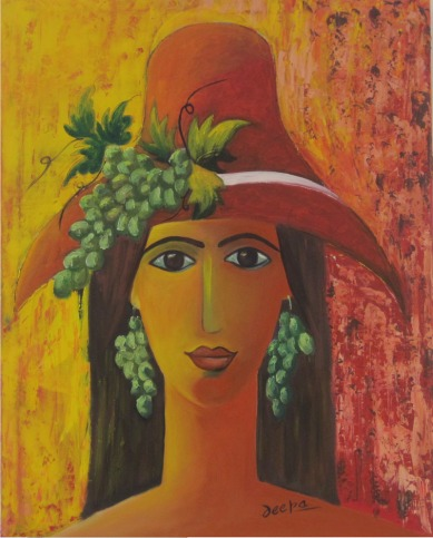 Deepa Sharma Lady with the Grapes Oil on Canvas 45 x 60 Inches