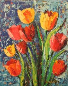 Deepa Sharma RareTulips Oil on Canvas 45 x 60 Inches