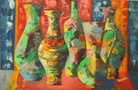 Deepa Sharma Series of Vase Oil on Canvas 50 x 75 Inches