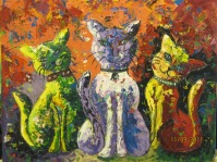 Deepa Sharma Three Naughty Cats Oil on Canvas 40 x 50 Inches