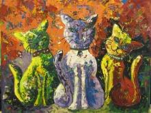 Deepa Sharma Three Naughty Cats Oil on Canvas 40 x 50 Inches