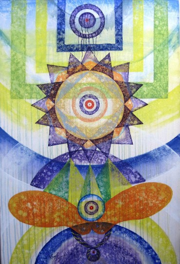 Kamal Sharma Deep meditation Acrylic on Canvas 24 x 36 Inches