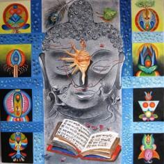 Kamal Sharma Five Sense Acrylic on Canvas 30 x 30 Inches
