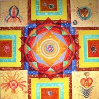 Kamal Sharma Four Direction Five Element Acrylic on Canvas 30x30 inch