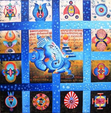 Kamal Sharma Ganesha in Deep Meditation Oil on Canvas 30 x 30 Inches