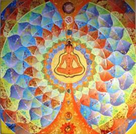 Kamal Sharma God blessings Acrylic on Canvas 30 x 30 Inches