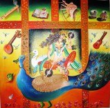 Kamal Sharma Mother's Blessing Oil on Canvas 30 x 30 Inches
