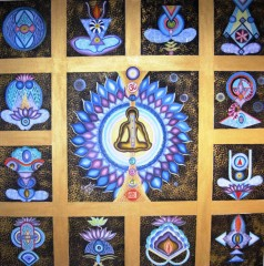 Kamal Sharma Seven Chakras Oil on Canvas 36 x 36 Inches