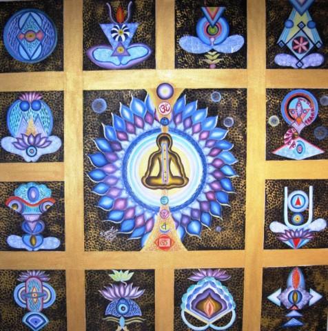 Kamal Sharma Seven Chakras Oil on Canvas 36 x 36 Inches