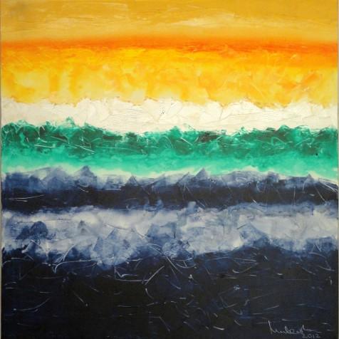 Mukesh Kumar Fantasy Landscape 6 Acrylic on Canvas 42 x 42 Inches