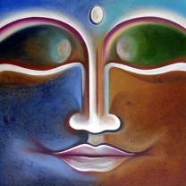 Narender Mehta Oil on Canvas Buddha-1 Sold