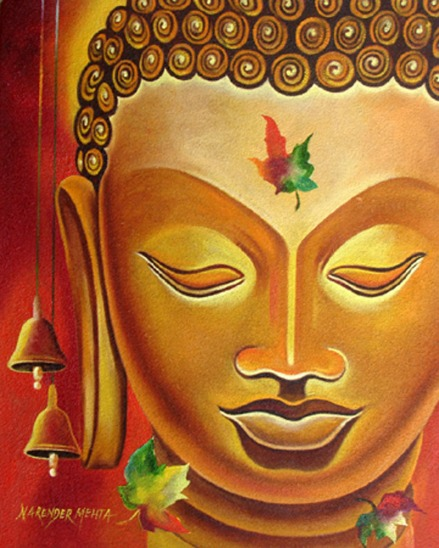 Narender Mehta Oil on Canvas Buddha-10 Sold