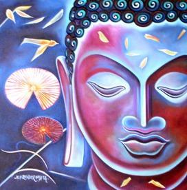 Narender Mehta Oil on Canvas Buddha-11