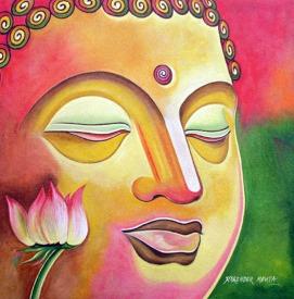 Narender Mehta Oil on Canvas Buddha-12