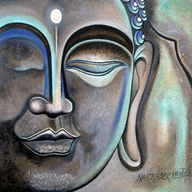 Narender Mehta Oil on Canvas Buddha-13