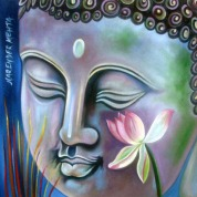 Narender Mehta Oil on Canvas Buddha-3 Sold